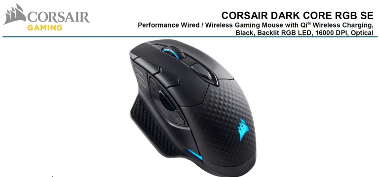 Corsair Dark Core SE RGB Wireless Gaming Mouse