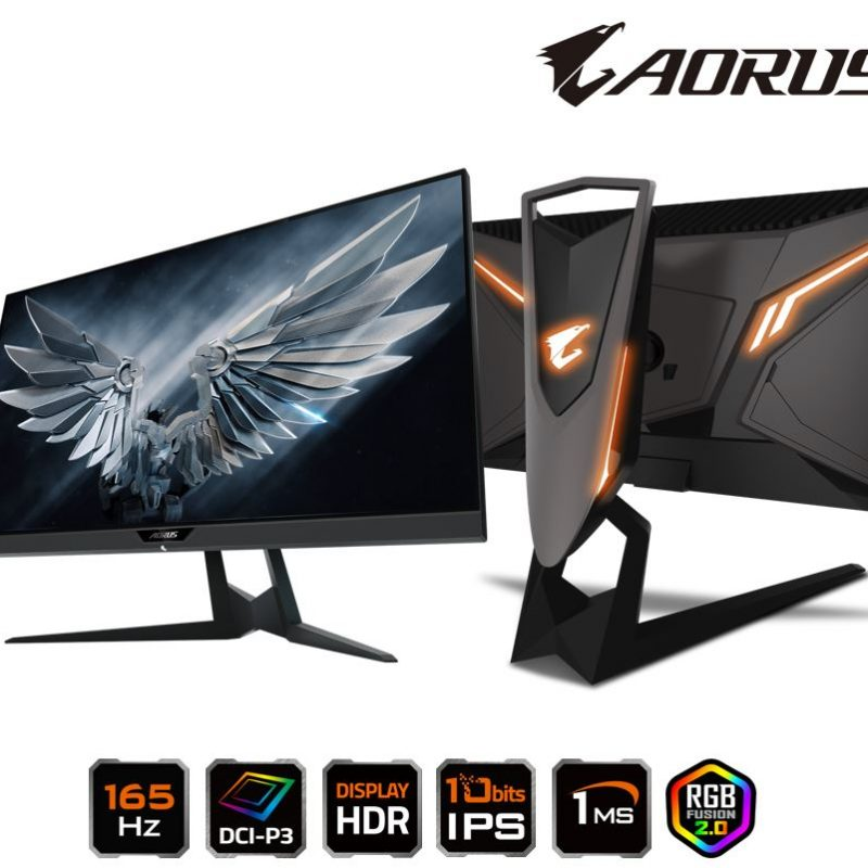 技嘉 Gigabyte AORUS FI27Q-P 27' Tactical Gaming 显示器 HDR 165Hz 1ms FreeSync G-Sync 10bits IPS DCI-P3 Swivel Pivot Tilt Height Adjust HDMI DP
