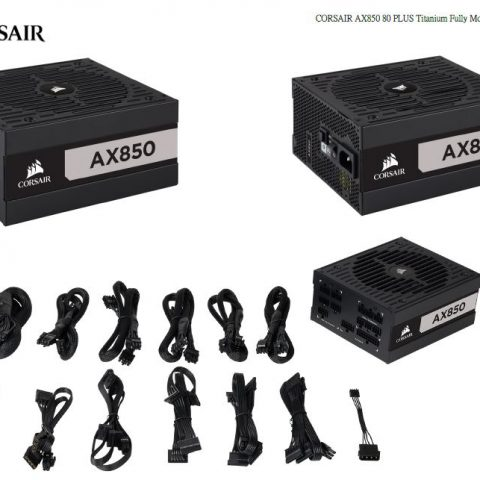 海盗船 AX850 Titanium Modular 850 Watt Power Supply 电源