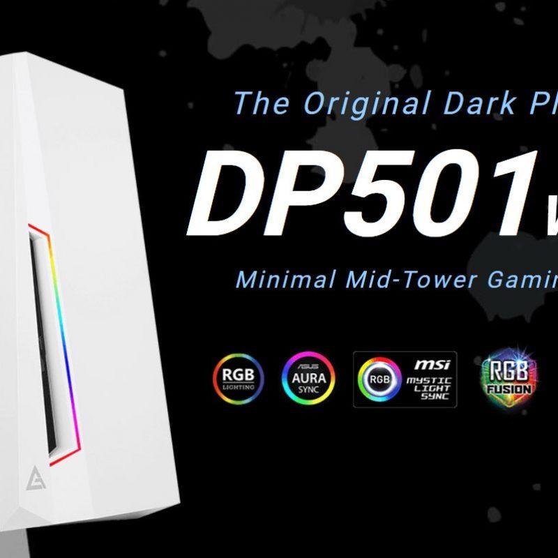 安钛克 Antec DP501 White ATX ARGB Front LED, LED Control, Tempered Glass, 2.5' x 4, 3.5' x 2, 7x PCI.1x 120mm pre-installed Gaming Case. 2 Years Warranty