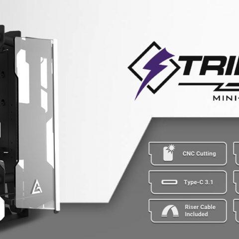 安钛克 Antec STRIKER Open Frame Mini-ITX Aluminium and Steel Case, PCI-E Riser Cable included. USB 3.1 Type-C, Aluminium Steel, Superior Thermal Performance