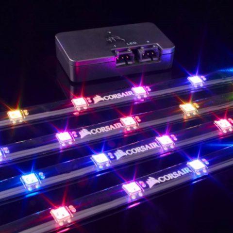 海盗船 Lighting Node PRO with 4x RGB LED Strips and Controller. 2x RGB FAN Hub