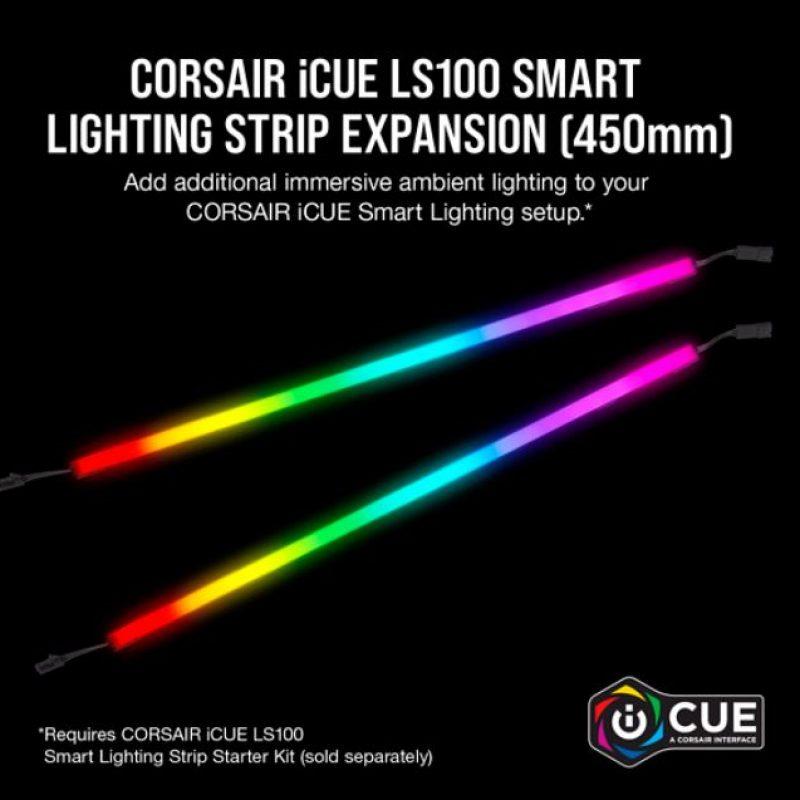 海盗船 iCUE LS100 Smart Lighting Strip Expansion Kit 2x 450mm Addressable LED Strip, RGB Ext Cable, Adhesive Tape, Cable Clip. 2 Years Warranty.