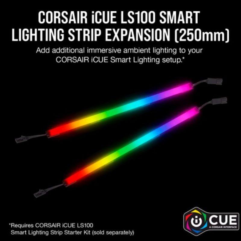 海盗船 iCUE LS100 Smart Lighting Strip Expansion Kit -2x 250mm Addressable LED Strip, RGB Ext Cable, Adhesive Tape, Cable Clips. 2 Years Warranty.