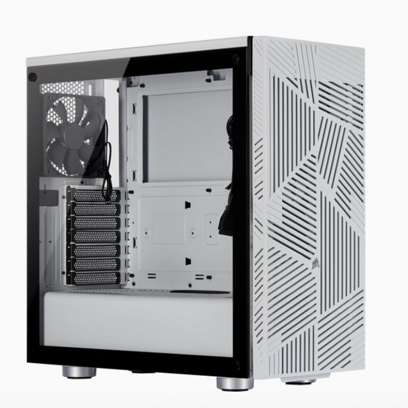 海盗船 Carbide Series 275R Airflow ATX Tempered Glass White, 3x 120mm Fans pre-installed. USB 3.0 x 2, Audio I/O. Case