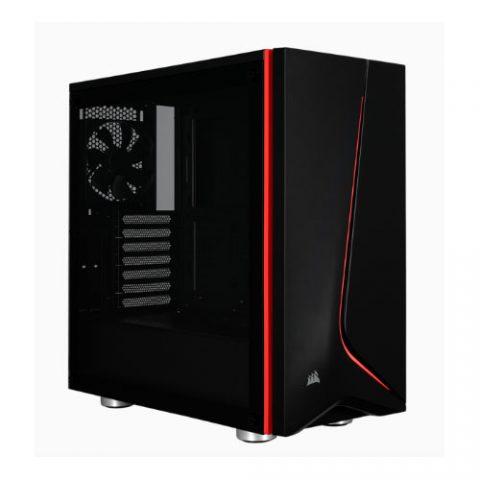 海盗船 Carbide SPEC-06 Black with Red Trim Tempered Glass Solid ATX Mid-Tower Case (LS)