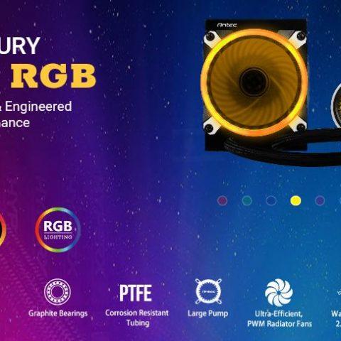 安钛克 Antec MERCURY 120 RGB Liquid CPU Cooler, Large Pump, Efficient PWM Radiator Fan, Graphite Bearings, LGA 2066, 2011, AM4, FMx, 5 Yrs Warranty