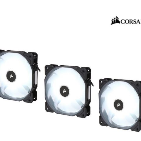 海盗船 Air Flow 120mm Fan Low Noise Edition / White LED 3 PIN - Hydraulic Bearing, 1.43mm H2O. Superior cooling performance. Three Pack!