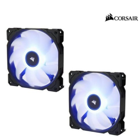 海盗船 Air Flow 140mm Fan Low Noise Edition / Blue LED 3 PIN - Hydraulic Bearing, 1.43mm H2O. Superior cooling performance. TWIN Pack!