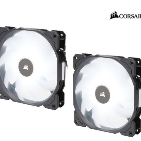 海盗船 Air Flow 140mm Fan Low Noise Edition / White LED 3 PIN - Hydraulic Bearing, 1.43mm H2O. Superior cooling performance. TWIN Pack!