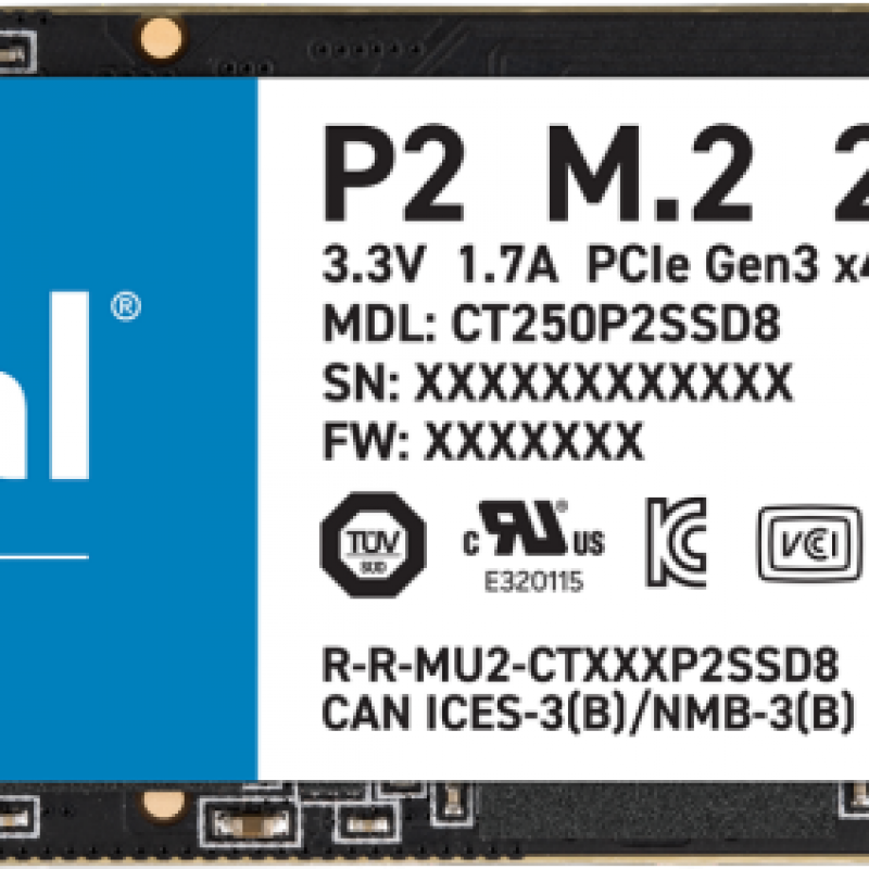 镁光 250GB M.2 NVMe SSD P2