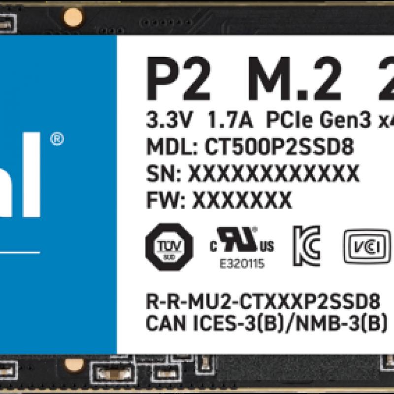 镁光 500GB M.2 NVMe SSD P2