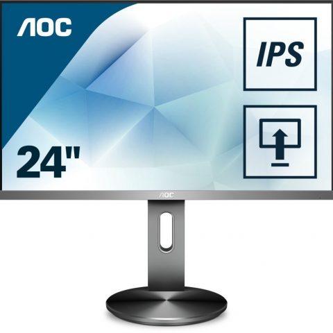 """AOC 24"""" FHD LED 显示器 with USB Hub, Silver"""