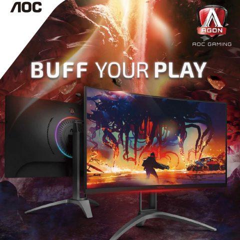 AOC AGON 31.5' 2560x1440 QHD VA 1ms,144Hz 550nits Curved 1500R, Free-Sync 2, HDR 400, USB 3.2 Gen1× 4, Speakers & HAS