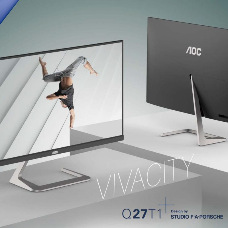 AOC 27' QHD 2560 x 1440, IPS, Zero Edge(Edge-M) 75Hz 4ms, DP, HDMI, Adaptive Sync, design by Studio F.A. Porsche
