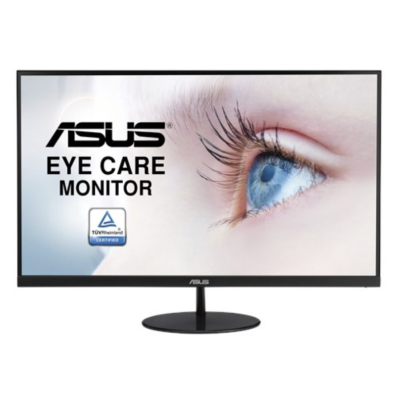 华硕 VL249HE 23.8' Eye Care 显示器 FHD (1920x1080), IPS, Slim Design, 3-side Frameless, FreeSync, 75Hz Refresh, Flicker-Free, Low Blue Light, VESA 10