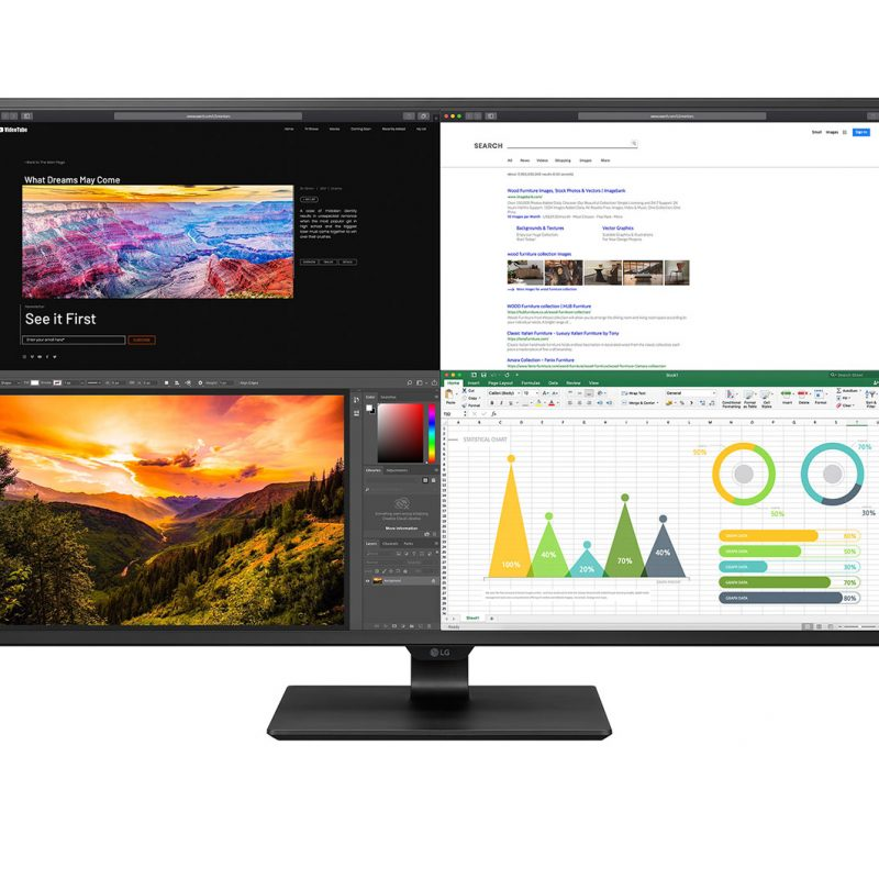 LG 43' IPS 5ms 60Hz 4K UHD IPS USB-C HDR 10 显示器, Vesa 100x100  HDMI,DP