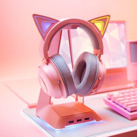 雷蛇 Razer 北海巨妖萌猫版 粉晶 RGB 耳机 Kitty Ears Quartz Edition