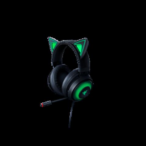 Razer 雷蛇 北海巨妖 USB游戏头戴式耳机 萌猫版 黑