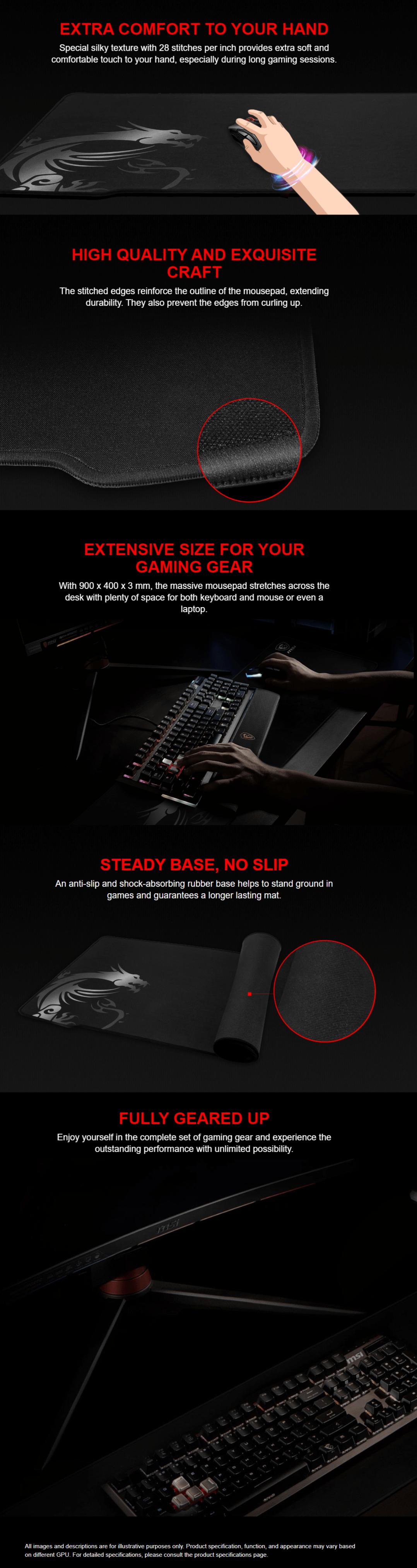 MSI/微星GD70鼠标垫超大键盘垫