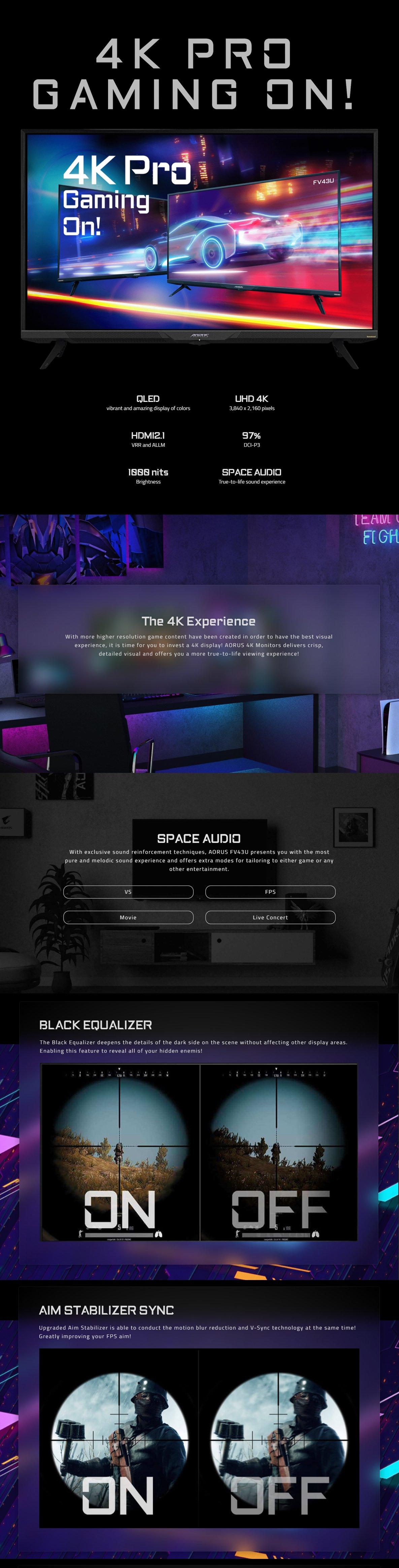 Gigabyte AORUS FV43U 43inch 4K UHD VA QLED Gaming Monitor