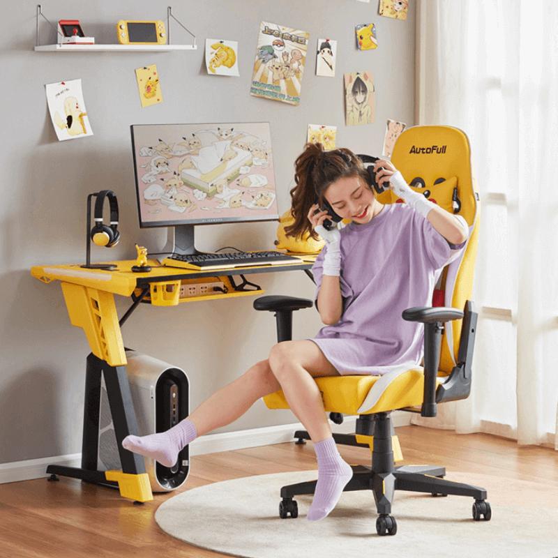 傲风 宝可梦联名系列-皮卡丘 AutoFull 电竞桌 电脑桌 游戏桌 台式家用办公书桌